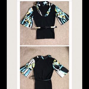 Bebe satin sleeve sweater belted  top